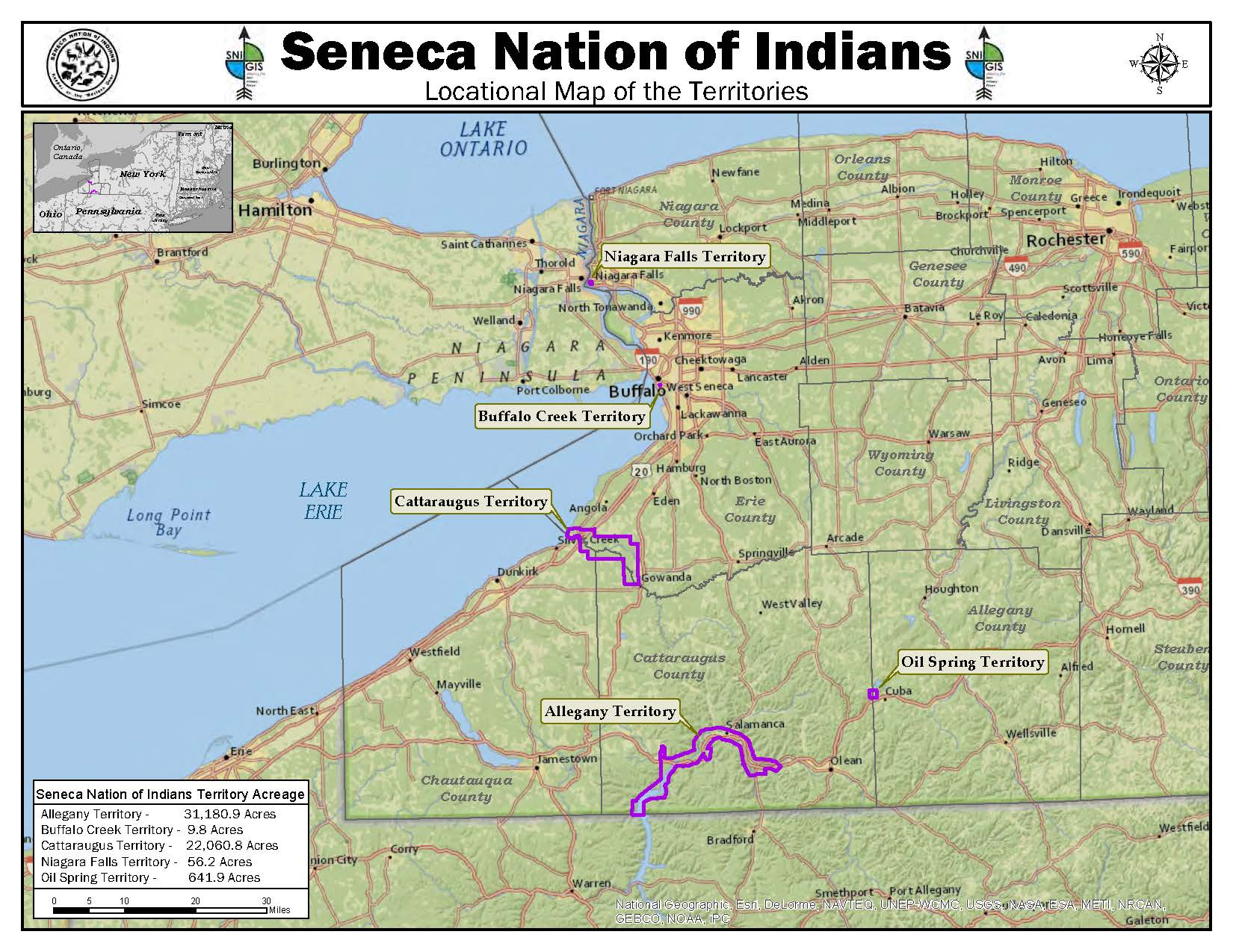 Lands of the Seneca Nation of Indians in Western New York State
