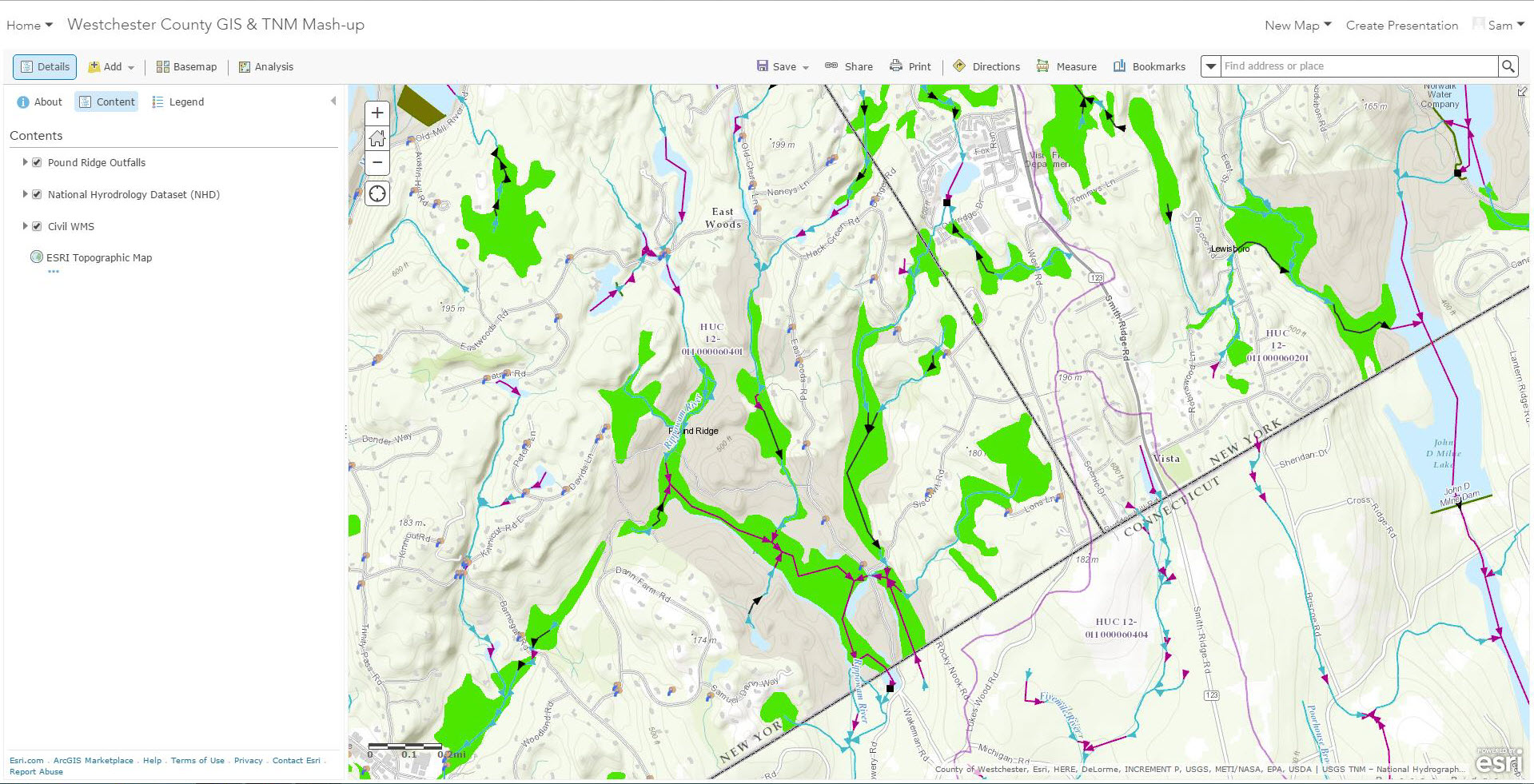 "Using the ArcGIS Online Viewer, users can ""mash-up"" map services from different sources. This example includes a WMS service being published by Westchester County GIS (highlighting wetlands in green), storm water outfalls in the Town of Pound Ridge (adjacent the State of Connecticut border), and hydrology flow data from an NHD map service published through the National Map."