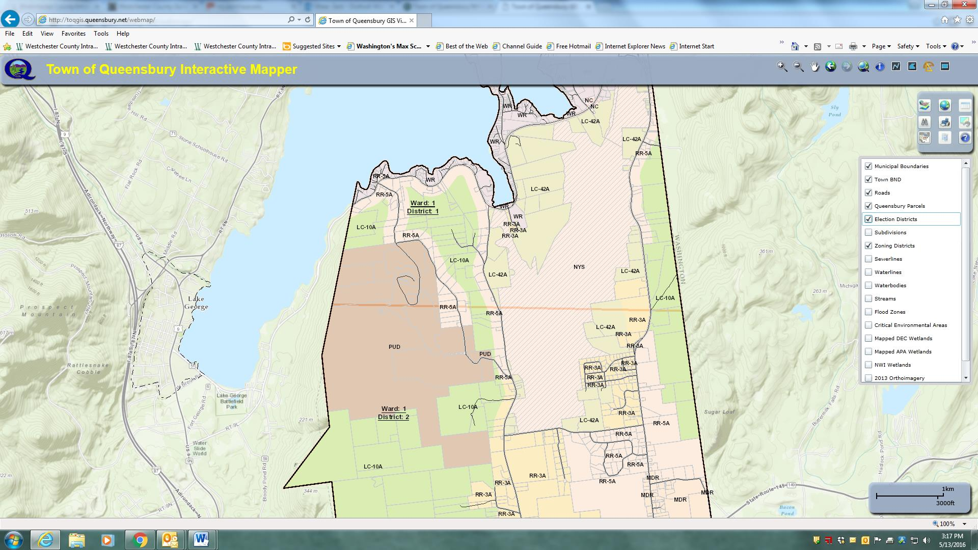 Parts of the Town of Queensbury is actually within the Adirondack Park and therefore subject to stringent land use regulations. This image highlights zoning districts on the southeastern shore of Lake George – within the park boundaries.