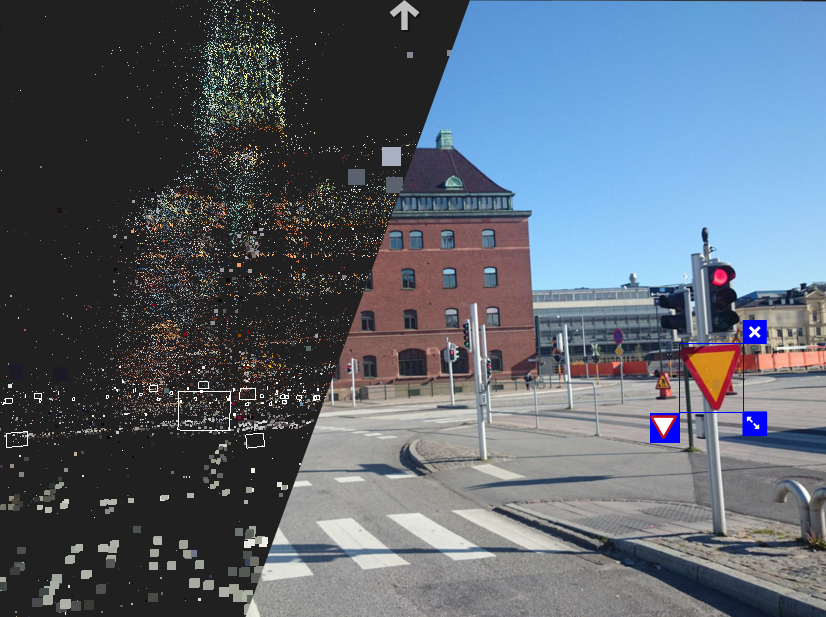 Street level imagery is reconstructed by creating point clouds from photos.