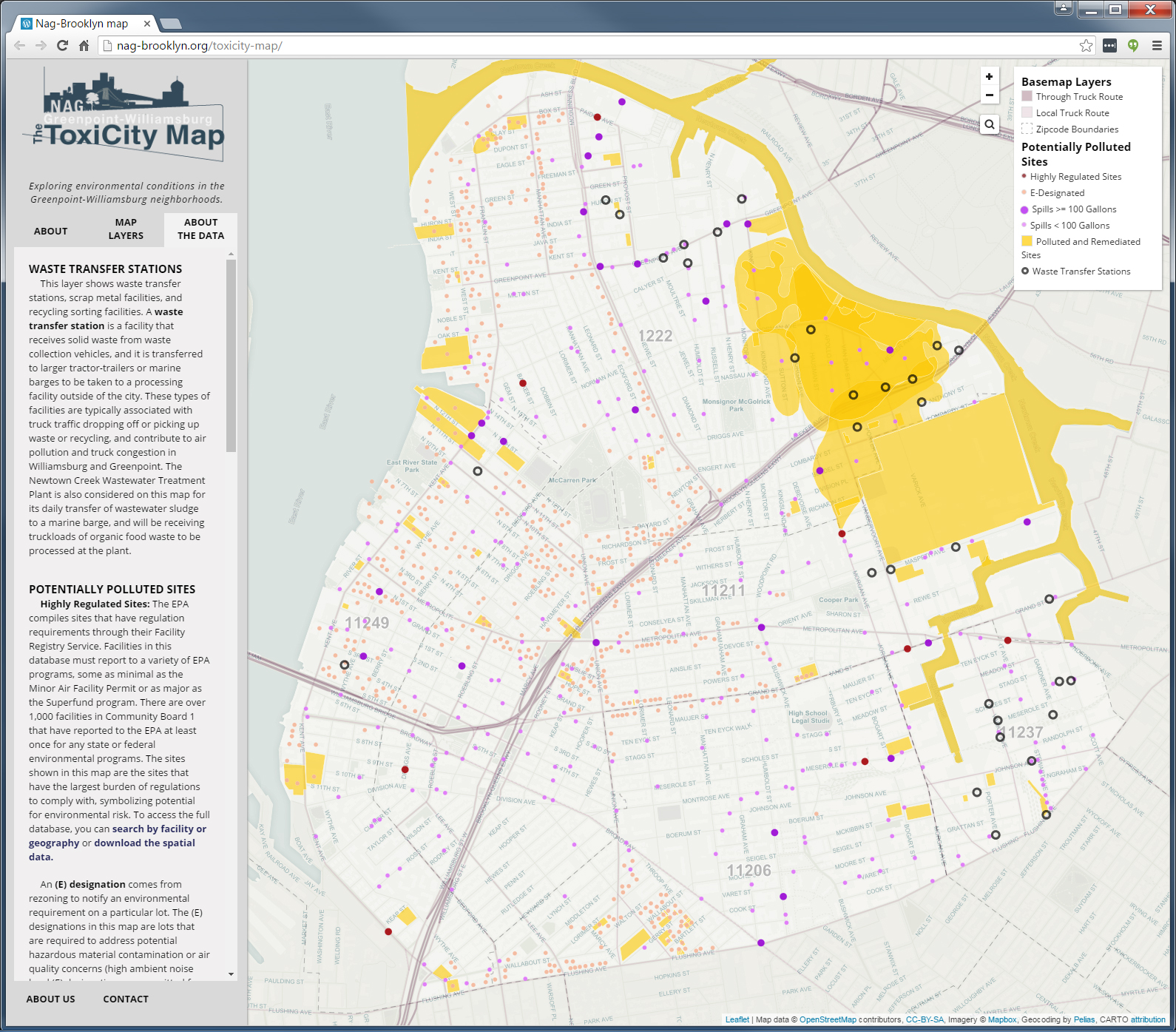 SAVI compiled information from federal, state, and city sources under several different environmental programs in building ToxiCity interactive web application. The application is built with several open source components.